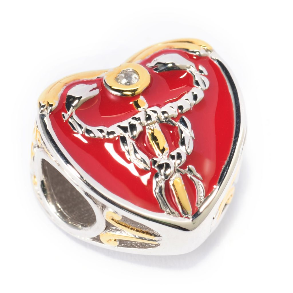 138-126 - Gems en Vogue II White Zircon & Red Enamel Medical Heart Slide-on Charm