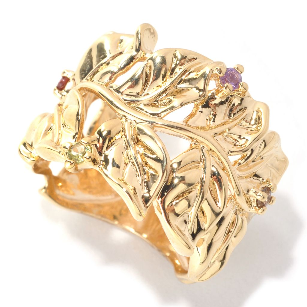 138-130 - Kristen Amato Multi Gemstone Polished Leaf Vine Wide Band Ring