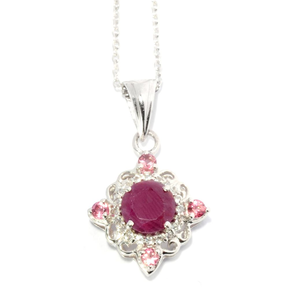 138-134 - Gem Treasures Sterling Silver 6mm Madurai Ruby & Multi Gemstone Scrollwork Pendant