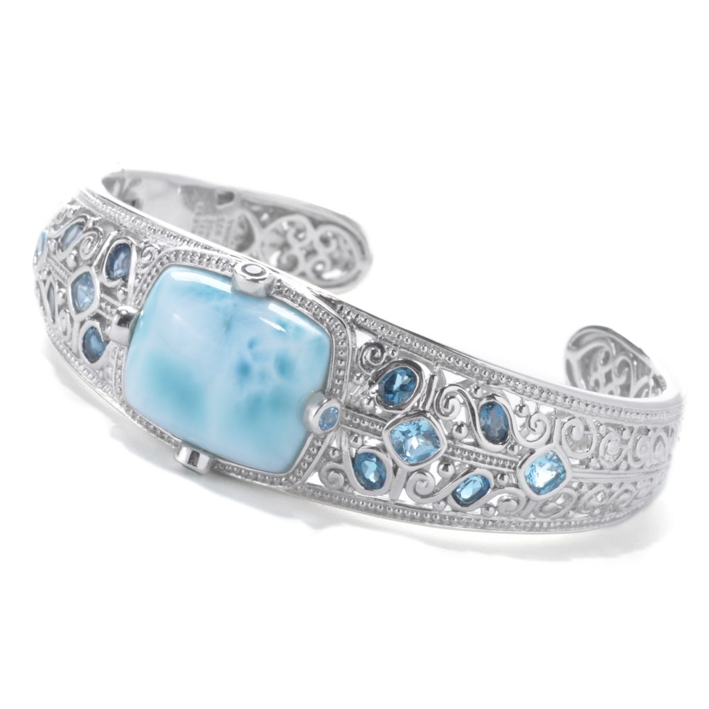 "138-139 - Gem Treasures Sterling Silver 7"" 20 x 16mm Larimar & Multi Blue Topaz Cuff Bracelet"