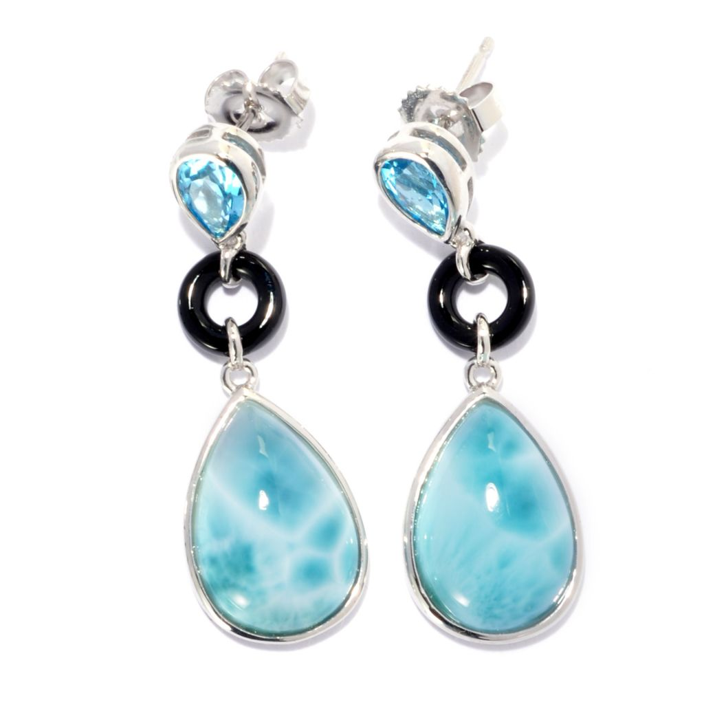 "138-142 - Gem Insider Sterling Silver 1.5"" Larimar, Onyx & Swiss Blue Topaz Dangle Earrings"