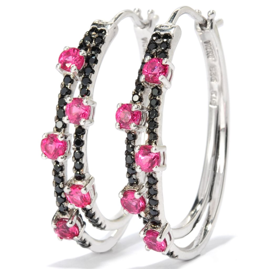 "138-146 - NYC II 1"" 1.46ctw Red & Black Spinel Double Hoop Earrings"