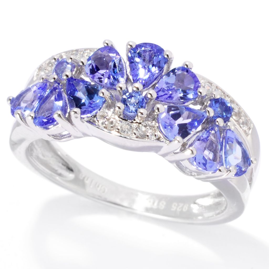 138-147 - NYC II 1.14ctw Tanzanite & White Zircon Alternating Flower Band Ring