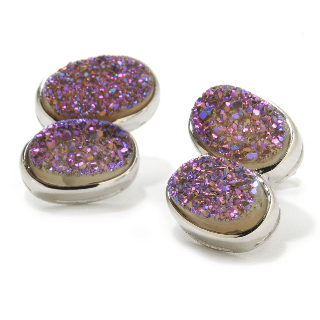 138-156 - Gem Insider Sterling Silver 11 x 7mm Lavender Drusy Double Oval Earrings