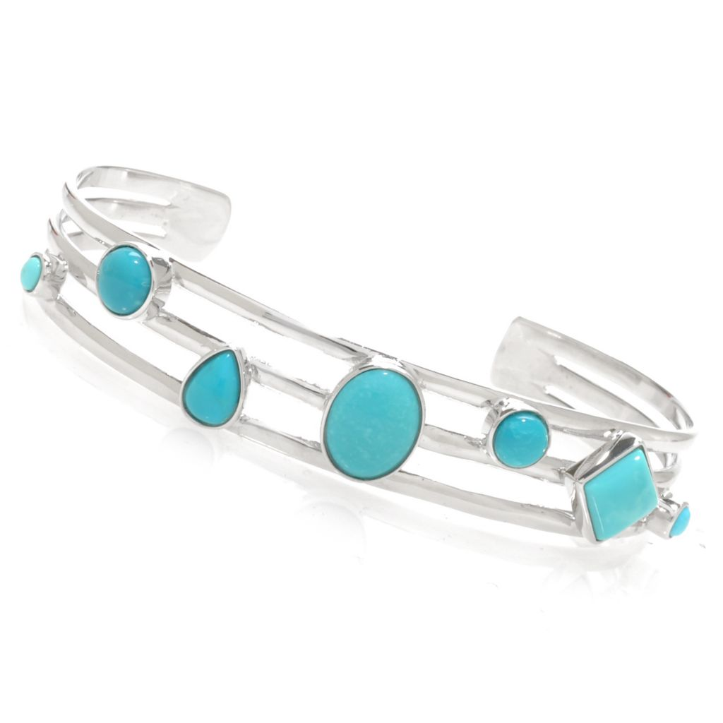 "138-159 - Gem Insider Sterling Silver 6.5"" Sleeping Beauty Turquoise Three-Row Bracelet"