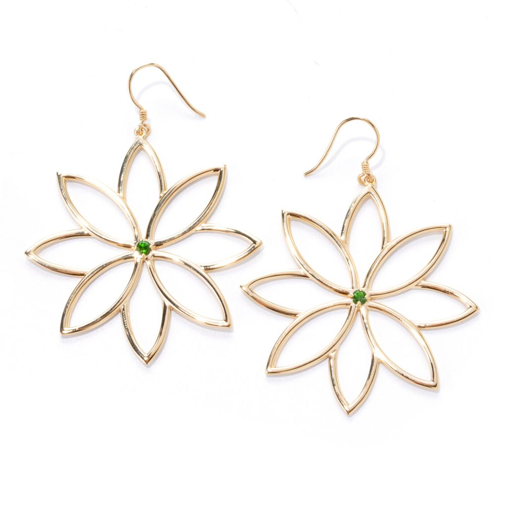 "138-162 - Kristen Amato 2.5"" Round Gemstone Flower Cut-out Drop Earrings"