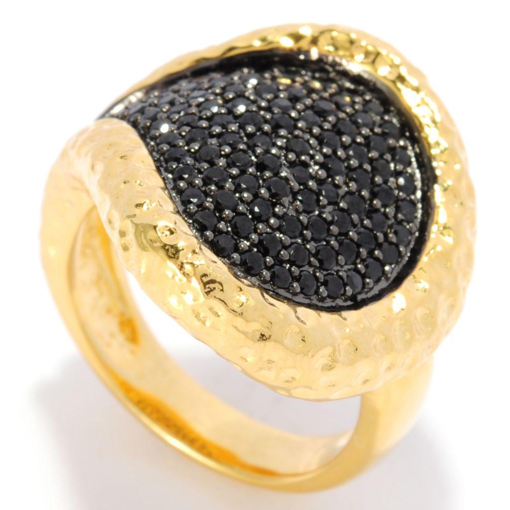 138-163 - Toscana Italiana 18K Gold Embraced™ Black Spinel Hammered Teardrop Ring