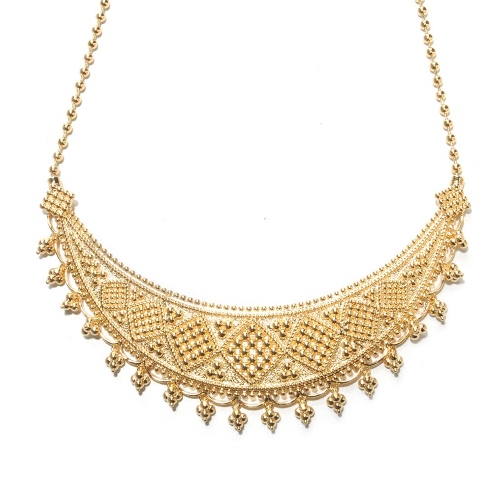"138-165 - Jaipur Bazaar 18K Gold Embraced™ 18"" Ornate Beadwork Collar Necklace w/ 3"" Extender"