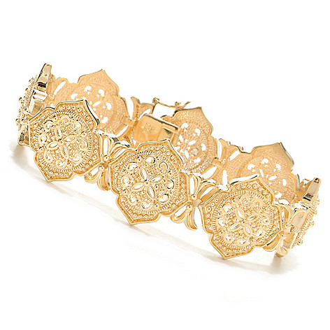 138-167 - Jaipur Bazaar 18K Gold Embraced™ 7.5'' Polished Ornate Beadwork Link Bracelet