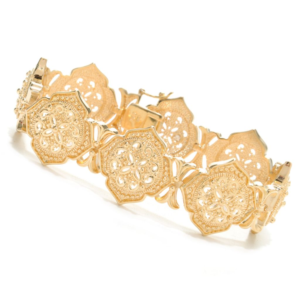 "138-167 - Jaipur Bazaar 18K Gold Embraced™ 7.5"" Polished Ornate Beadwork Link Bracelet"