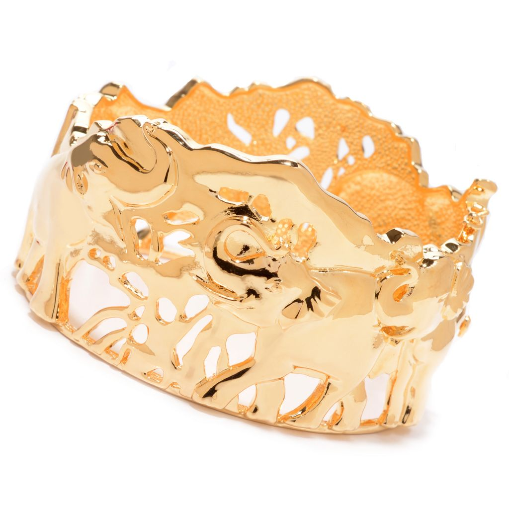 "138-168 - Jaipur Bazaar 18K Gold Embraced™ 7.5"" Polished Elephant Hinged Bangle Bracelet"