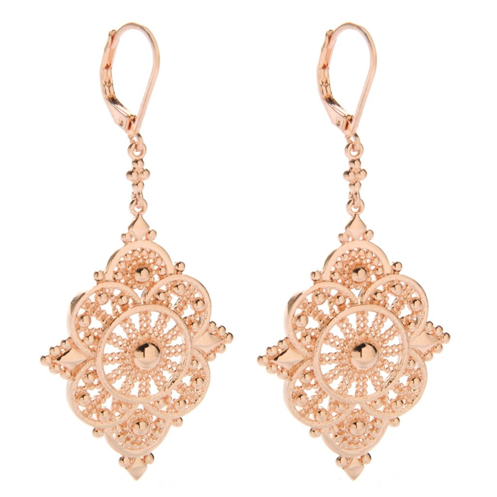 "138-169 - Jaipur Bazaar 18K Gold Embraced™ 2.5"" Ornate Beadwork Textured Drop Earrings"