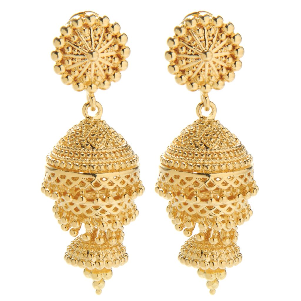 "138-170 - Jaipur Bazaar 18K Gold Embraced™ 1.75"" Ornate Beadwork Swirl Drop Earrings"