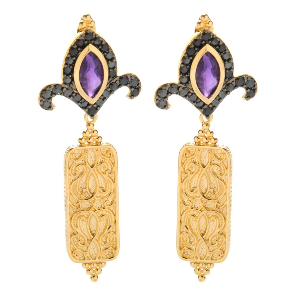 "138-171 - Jaipur Bazaar 18K Gold Embraced™ 2.5"" Gemstone & Black Spinel Dangle Earrings"