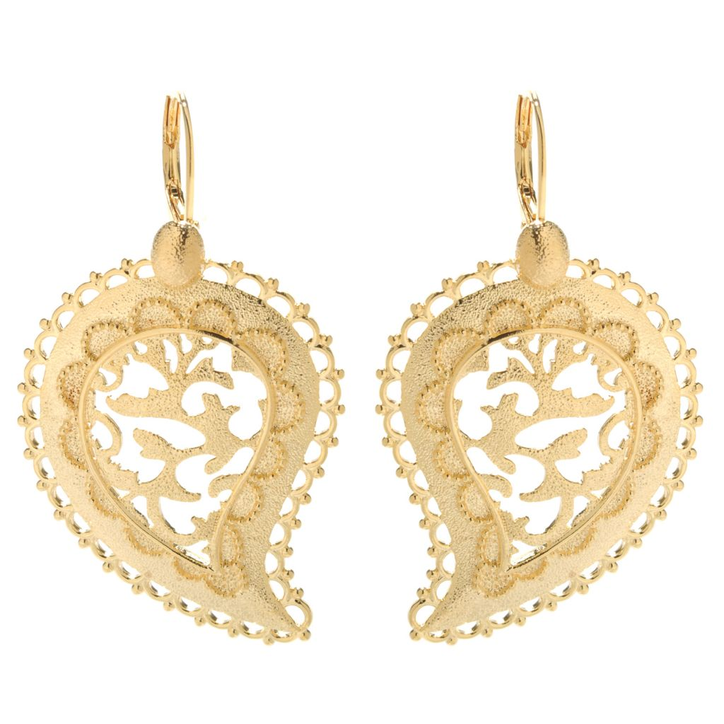 "138-172 - Jaipur Bazaar 18K Gold Embraced™ 2"" Polished & Textured Paisley Drop Earrings"