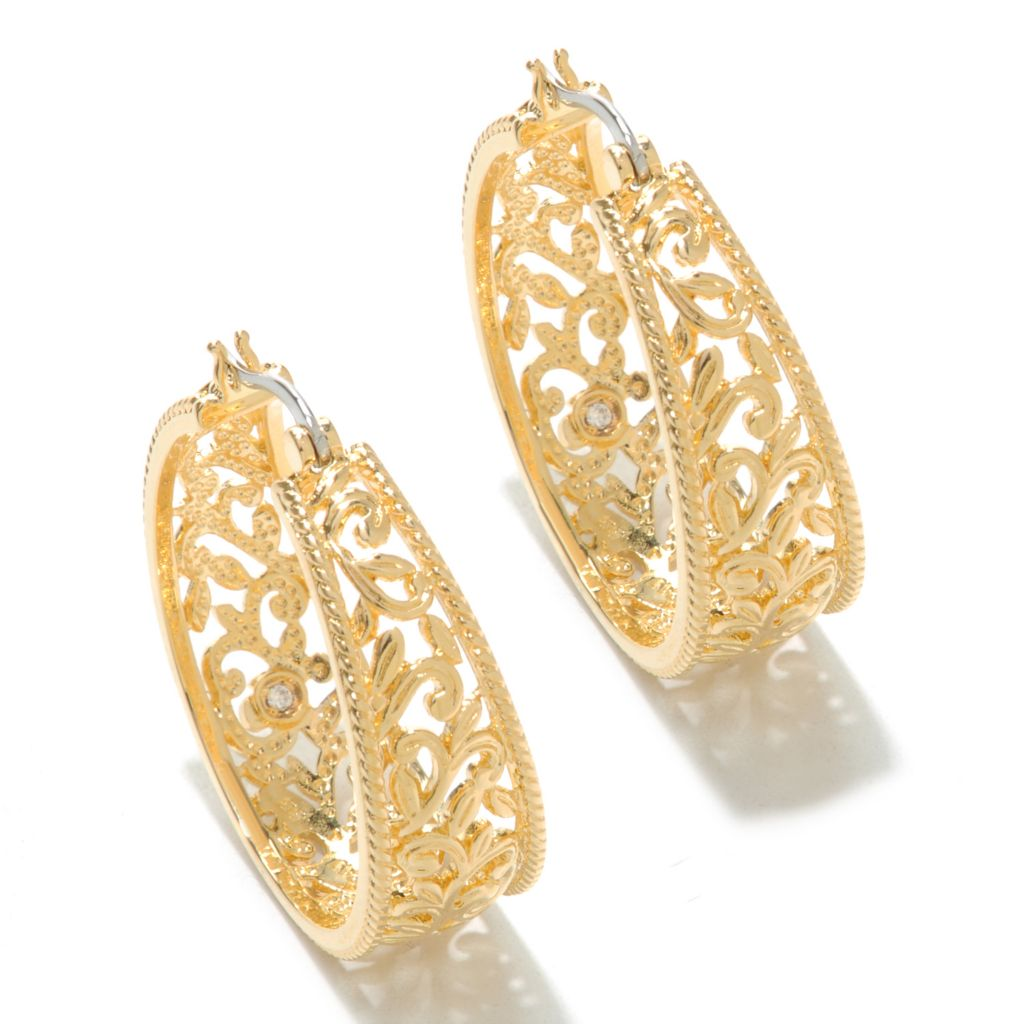 "138-173 - Jaipur Bazaar 18K Gold Embraced™ 1.25"" Polished Openwork Hoop Earrings"