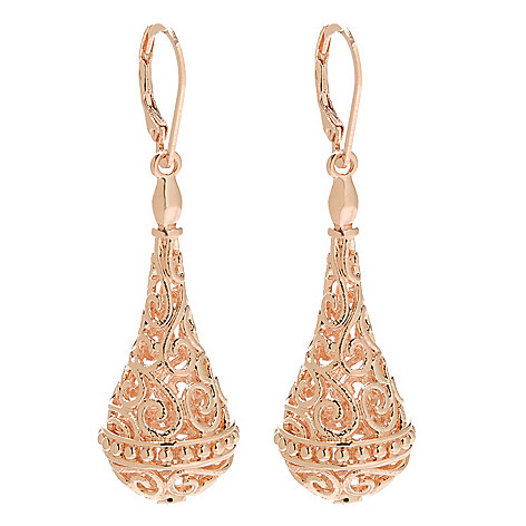 138-174 - Jaipur Bazaar 18K Gold Embraced™ 2.25'' Textured Openwork Teardrop Dangle Earrings