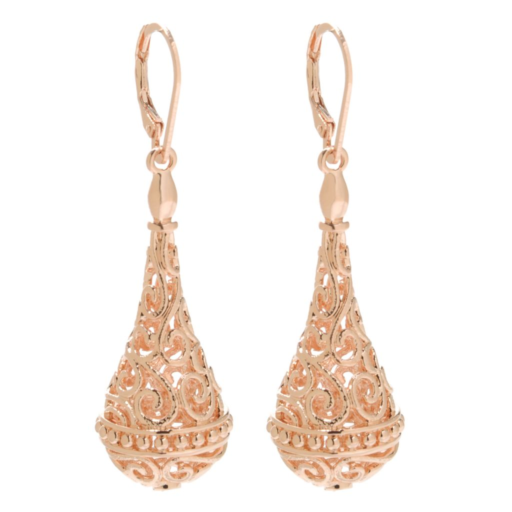 "138-174 - Jaipur Bazaar 18K Gold Embraced™ 2.25"" Textured Openwork Teardrop Dangle Earrings"