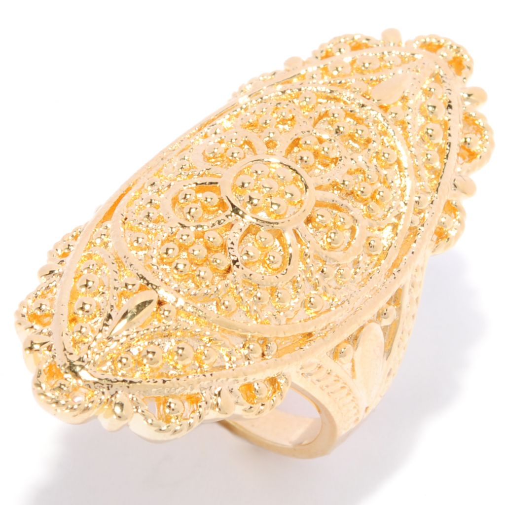 138-175 - Jaipur Bazaar 18K Gold Embraced™ Ornate Beadwork Textured Elongated Ring