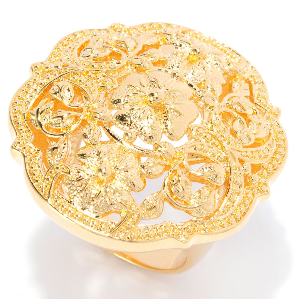 138-176 - Jaipur Bazaar 18K Gold Embraced™ Polished Ornate Beadwork Flower Ring