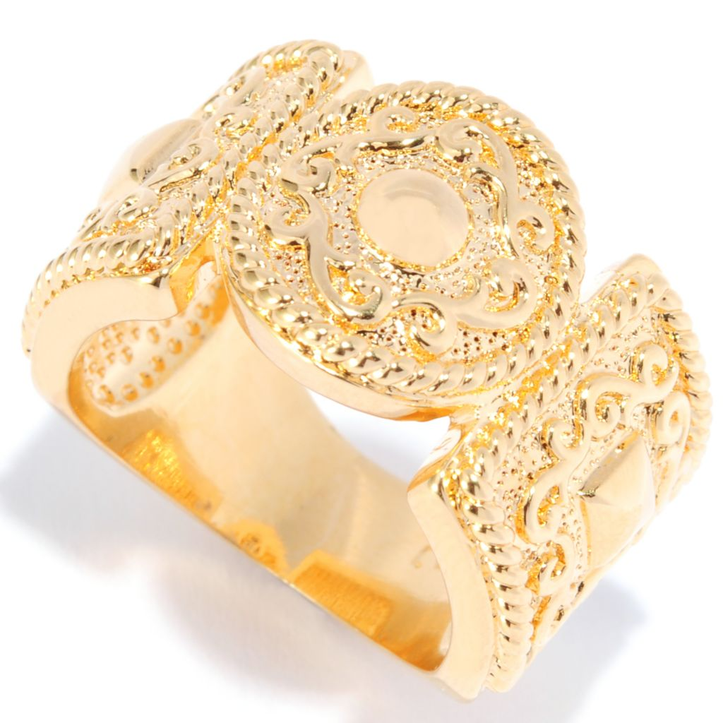 138-179 - Jaipur Bazaar 18K Gold Embraced™ Textured Scrollwork Wide Band Ring