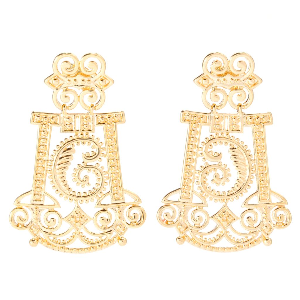 "138-180 - Jaipur Bazaar 18K Gold Embraced™ 1.5"" Polished Scrollwork Drop Earrings"