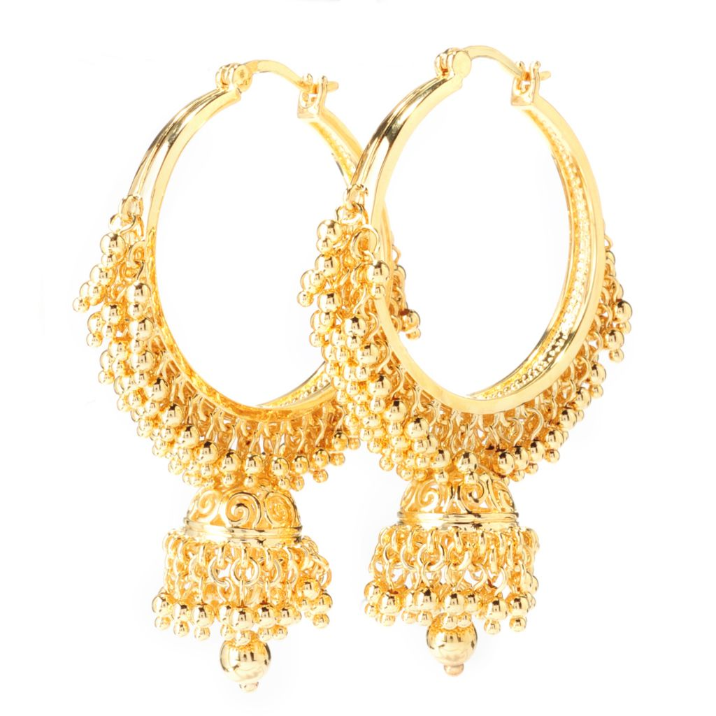 "138-181 - Jaipur Bazaar 18K Gold Embraced™ 2.25"" Polished Bead Drop Hoop Earrings"