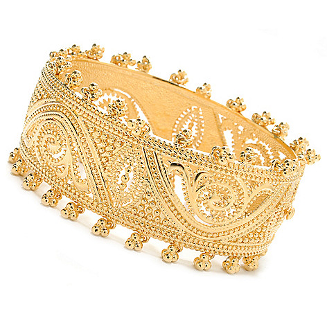 138-183 - Jaipur Bazaar 18K Gold Embraced™ 7.25'' Polished Beadwork Hinged Bangle Bracelet