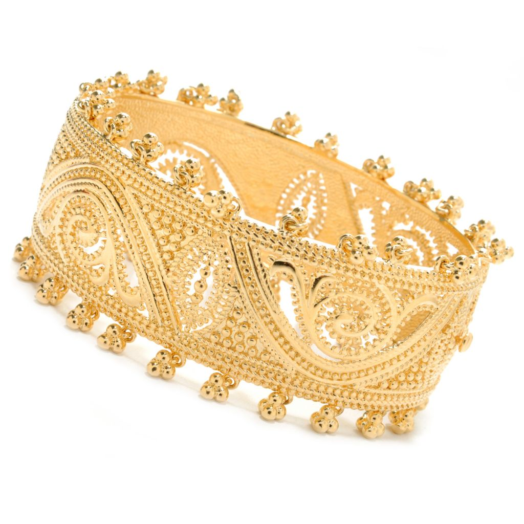 "138-183 - Jaipur Bazaar 18K Gold Embraced™ 7.25"" Polished Beadwork Hinged Bangle Bracelet"