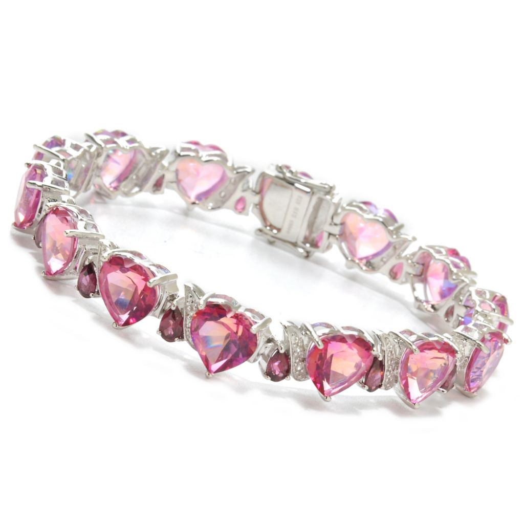 "138-184 - NYC II 7.25"" Heart Shaped Multi Gemstone Link Bracelet"