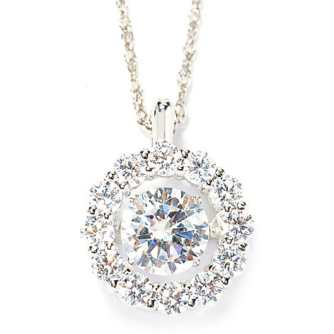 138-188 - Brilliante® Platinum Embraced™ ''Dancing'' Simulated Diamond Pendant w/ Chain