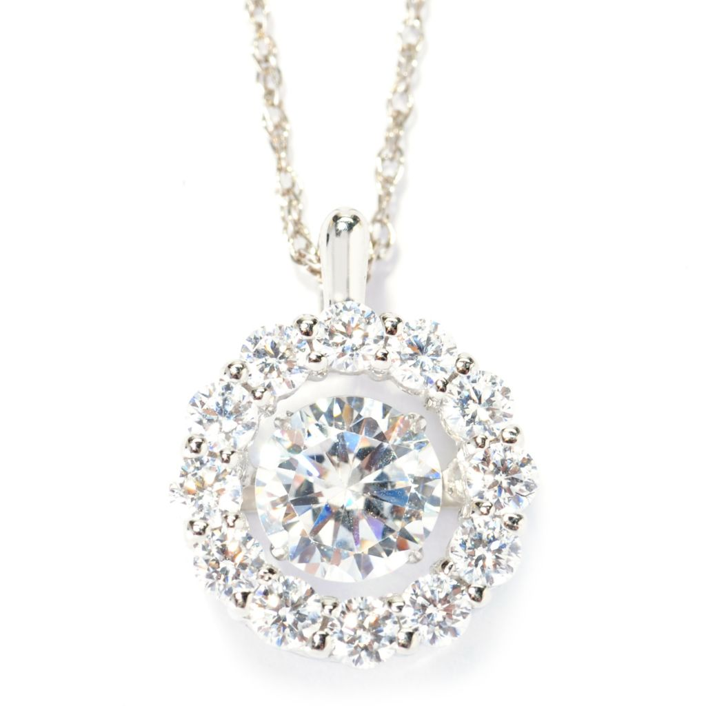 "138-188 - Brilliante® Platinum Embraced™ ""Dancing"" Simulated Diamond Pendant w/ Chain"