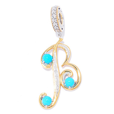 138-193 - Gems en Vogue Sleeping Beauty Turquoise Initial Drop Charm