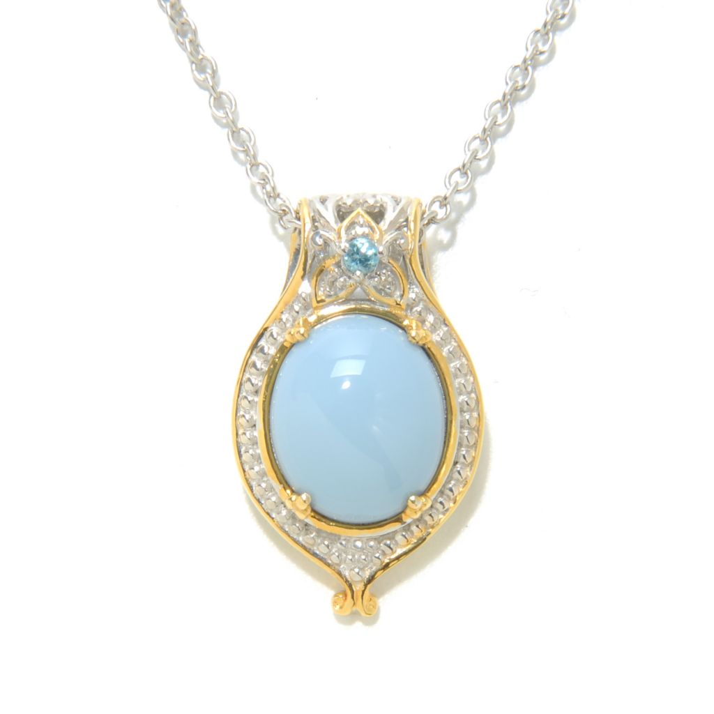 138-194 - Gems en Vogue II 12 x 10mm Oregon Blue Opal, Swiss Blue Topaz & Diamond Pendant