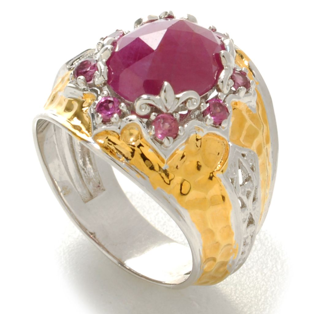 138-196 - Gems en Vogue 10 x 8mm Rose Cut Ruby & Rhodolite Hammered Ring