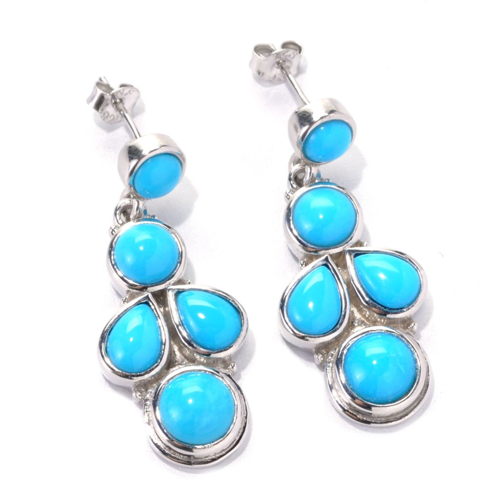 "138-198 - Gem Insider Sterling Silver 1"" 7 x 5mm Sleeping Beauty Turquoise Drop Earrings"