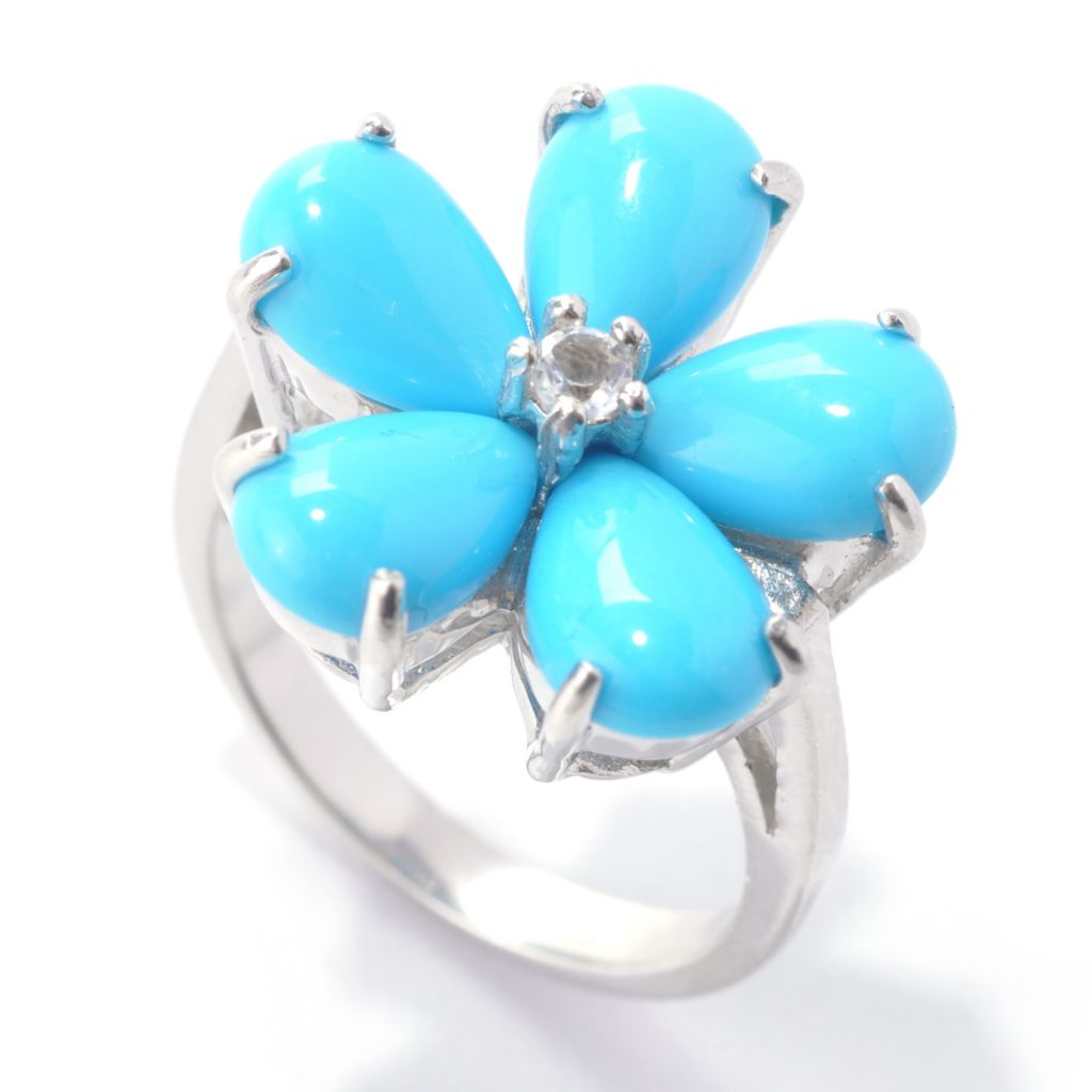 138-199 - Gem Insider Sterling Silver 9 x 6mm Sleeping Beauty Turquoise & White Topaz Ring