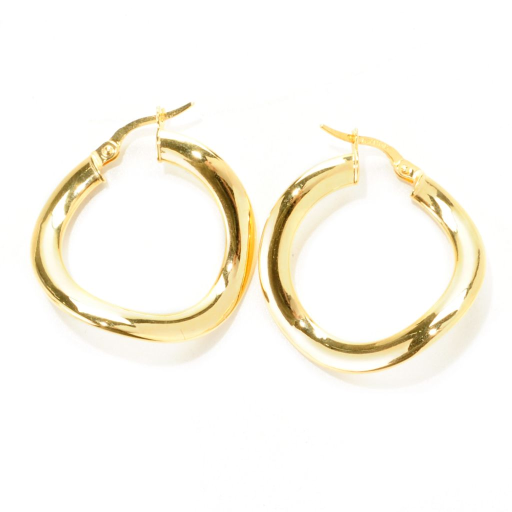 "138-209 - Italian Designs with Stefano 14K Gold 1.25"" Polished & Curved Hoop Earrings"
