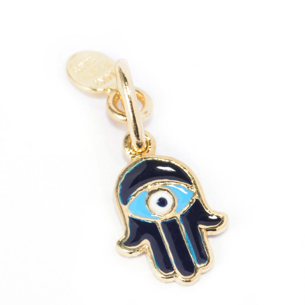 138-215 - Italian Designs with Stefano 14K Gold & Enamel Hamsa & Evil Eye Pendant