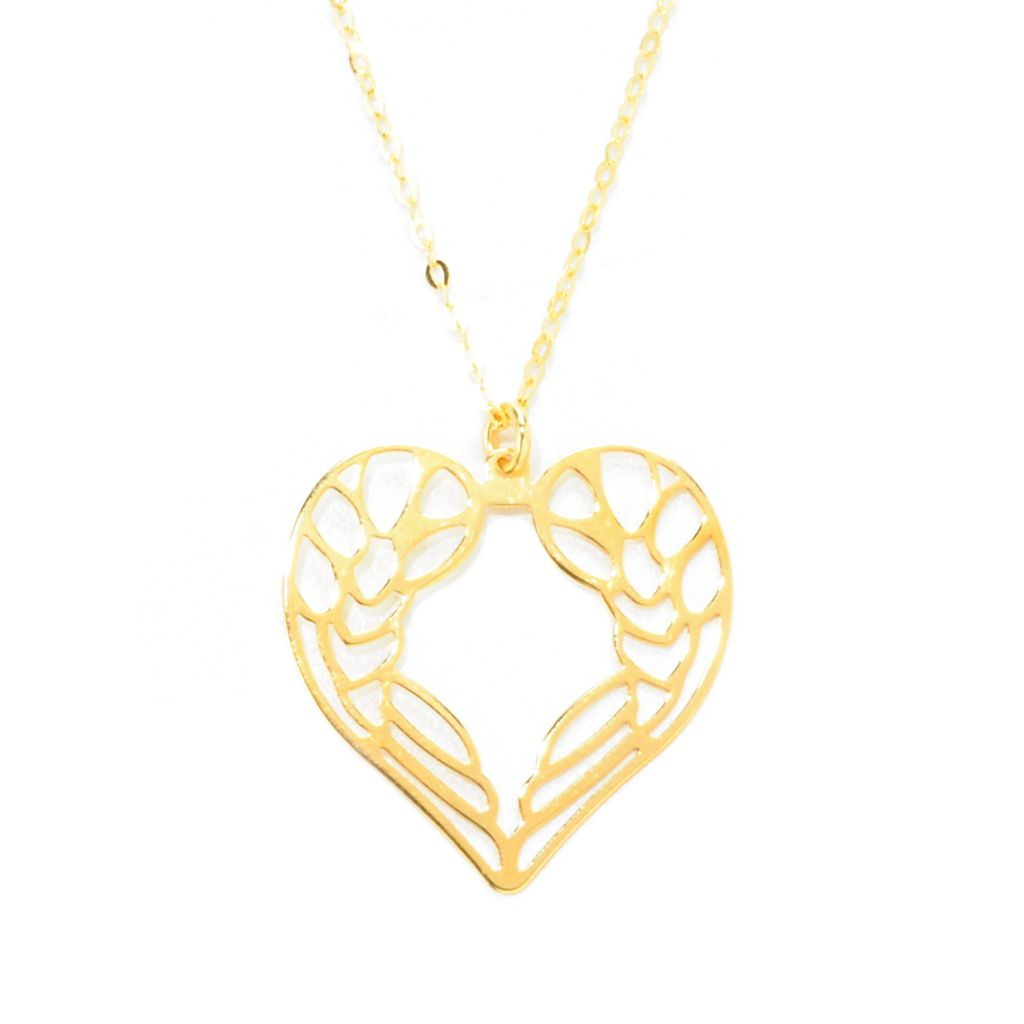 "138-229 - Italian Designs with Stefano 18"" 14K Gold Wings & Heart Necklace, 1.04 grams"