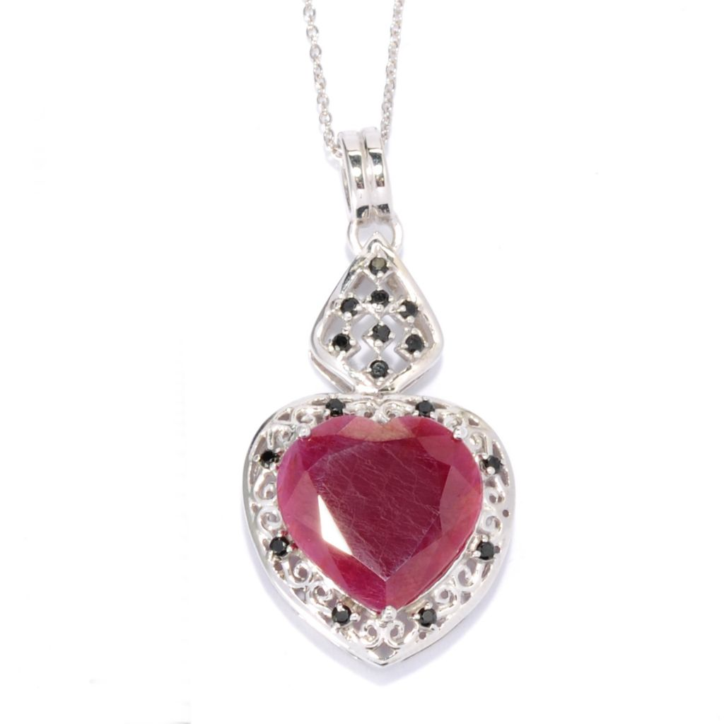 138-231 - Gem Treasures Sterling Silver 15mm Madurai Ruby & Spinel Heart Pendant w/ Chain