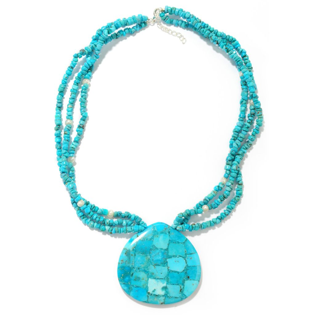 "138-234 - Gem Treasures Sterling Silver 20"" Turquoise & Multi Gemstone Necklace"