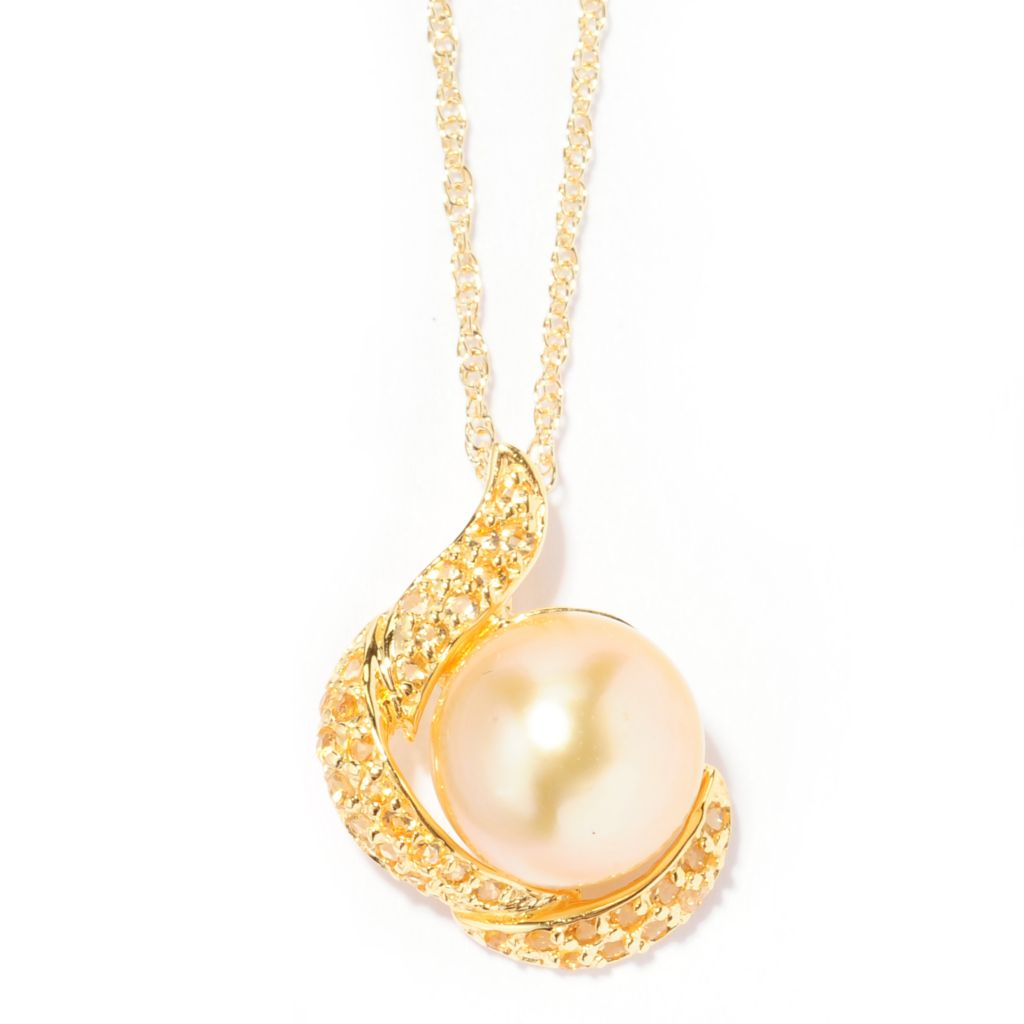 "138-235 - 9-10mm Golden South Sea Cultured Pearl & Citrine Pendant w/ 18"" Chain"