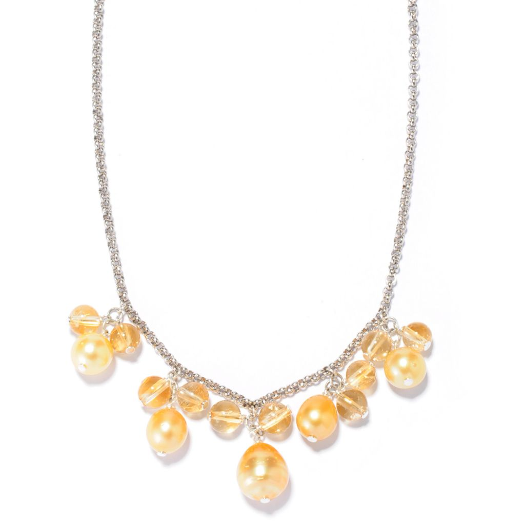 "138-238 - Sterling Silver 18"" 8-10mm Golden South Sea Cultured Pearl & Citrine Necklace"