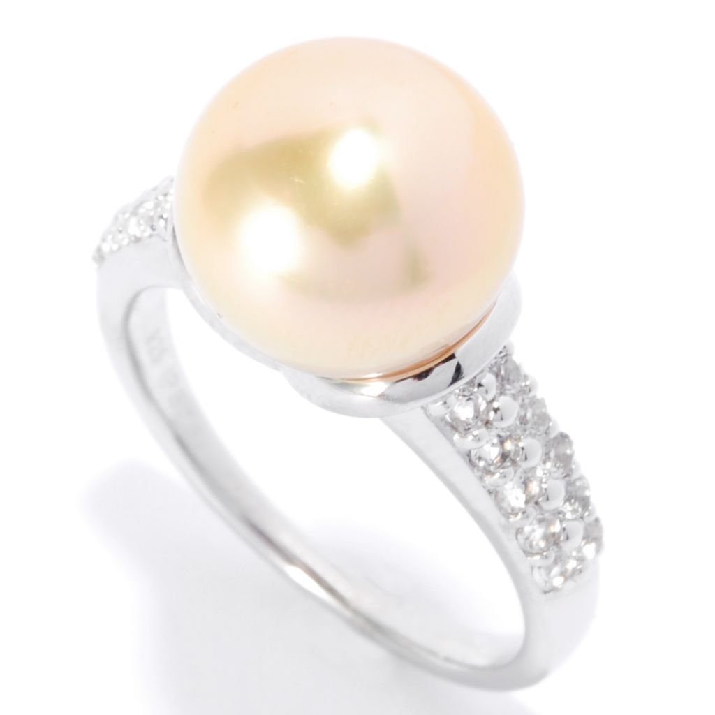 138-241 - Sterling Silver 10-11mm Golden South Sea Cultured Pearl & White Topaz Ring