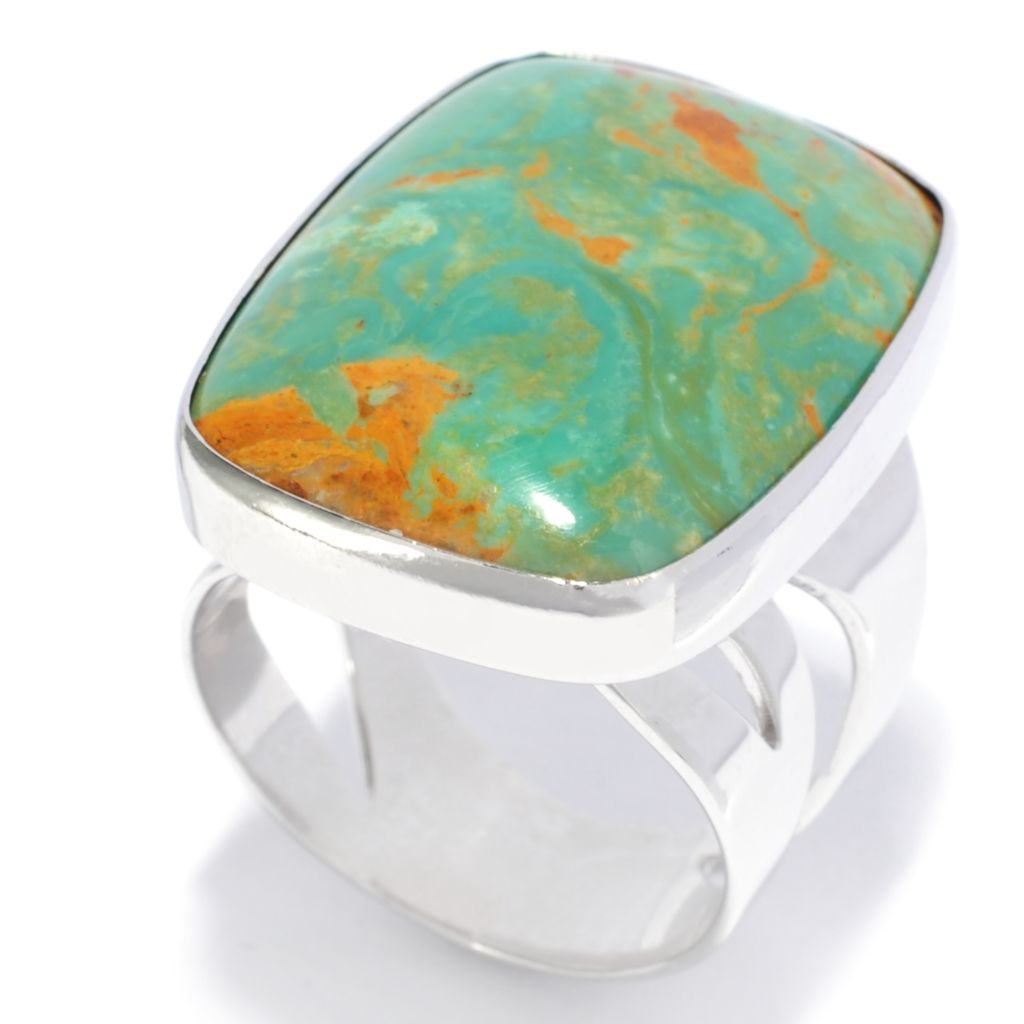 138-243 - Gem Insider Sterling Silver 24 x 18mm Green Kingman Turquoise Cut-out Ring