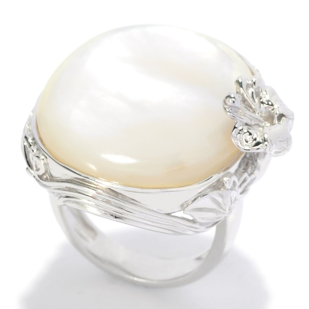 138-244 - Gem Insider Sterling Silver 26 x 21mm White Mother-of-Pearl Flower Ring