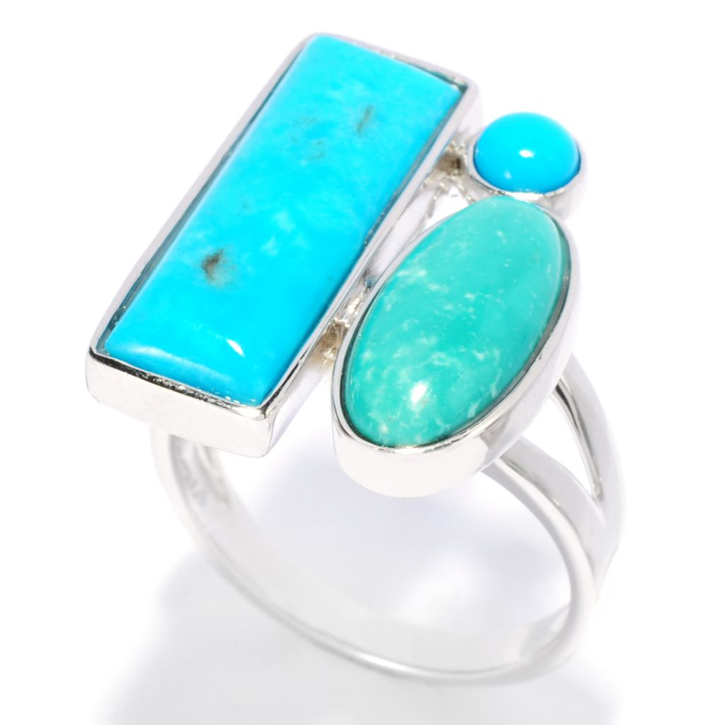 138-245 - Gem Insider Sterling Silver Multi Shaped American Turquoise Three-Stone Ring