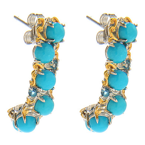 138-246 - Gems en Vogue 1'' Sleeping Beauty Turquoise & London Blue Topaz J-Hoop Earrings