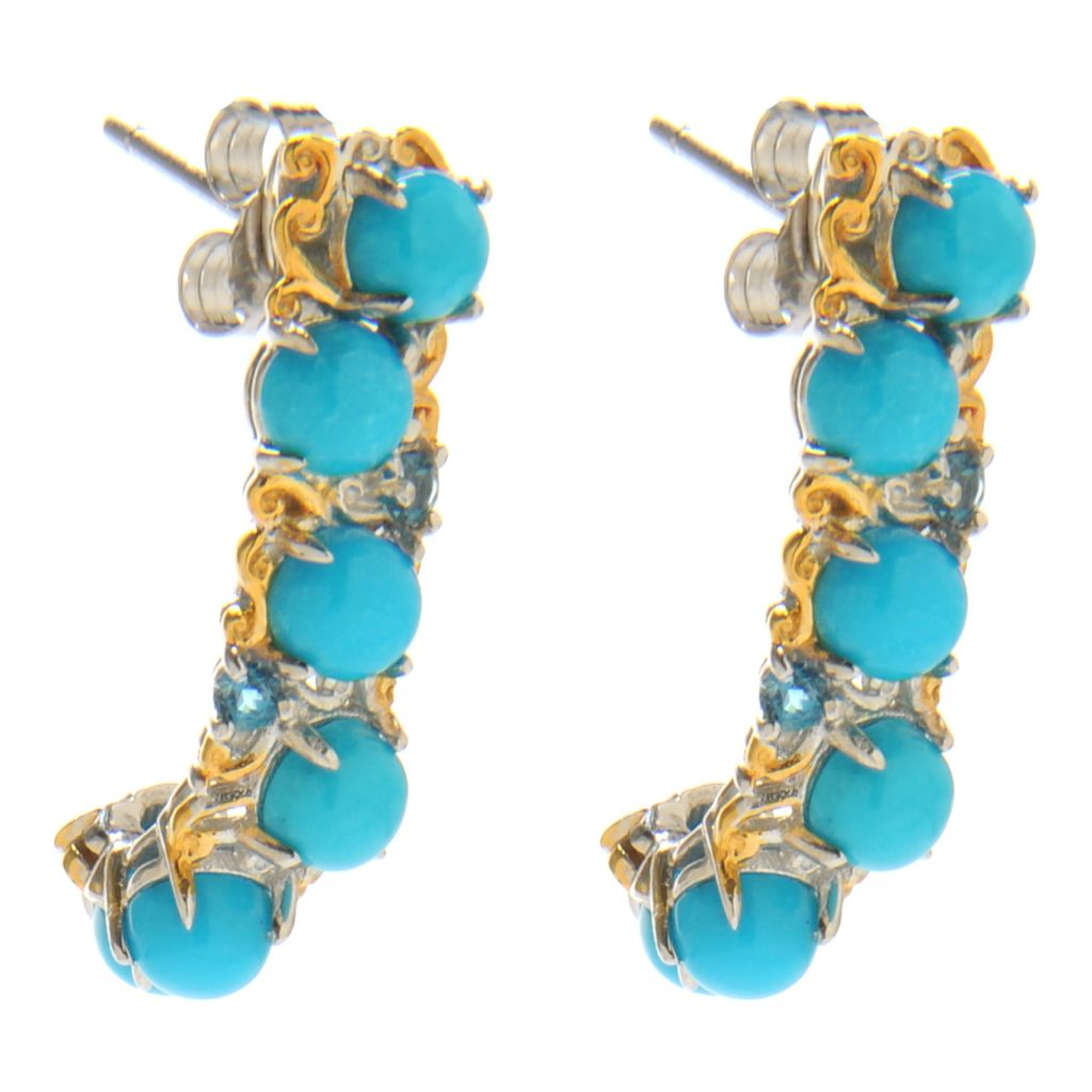 "138-246 - Gems en Vogue II 1"" Sleeping Beauty Turquoise & London Blue Topaz J-Hoop Earrings"